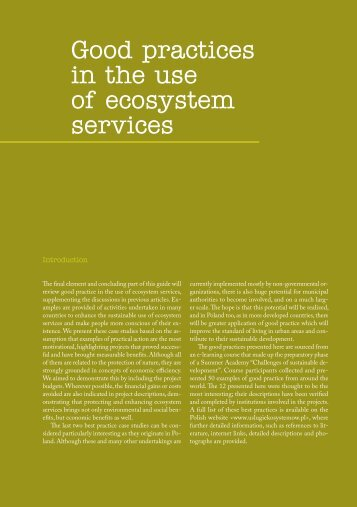 Good practices in the use of ecosystem services