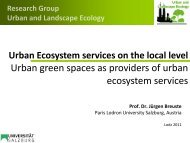 Urban green spaces as providers of urban ecosystem services