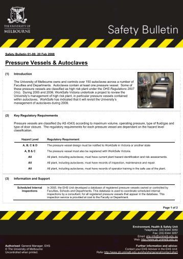 Pressure Vessels & Autoclaves - Safety - University of Melbourne