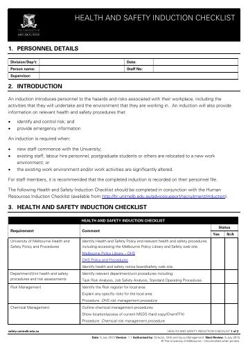 Employee Safety Induction Checklist Director    Pf Olsen Limited
