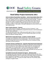 Road Safety Project Summaries 2011 - Community Transport ...