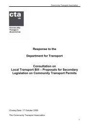 Local Transport Bill - Proposals for Secondary Legislation on ...