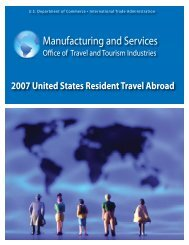 Manufacturing and Services - Office of Travel and Tourism Industries
