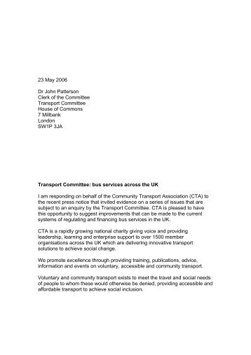 Transport Committee: Enquiry into Bus Services Across the UK