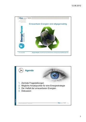 Agenda - im Energy Forum Valais/Wallis