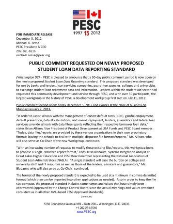 public comment requested on newly proposed student loan ... - PESC