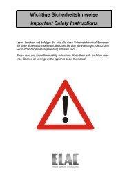 Wichtige Sicherheitshinweise Important Safety Instructions