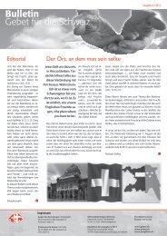 Editorial Der Ort, an dem man sein sollte - Gebet für die Schweiz