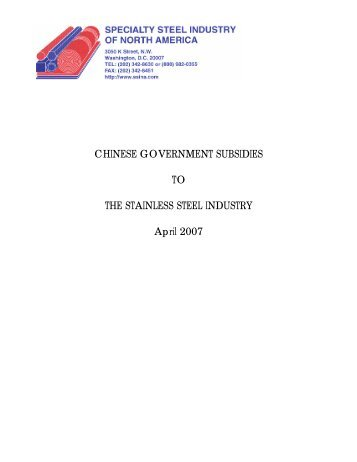 chinese government subsidies to the stainless steel industry - SSINA