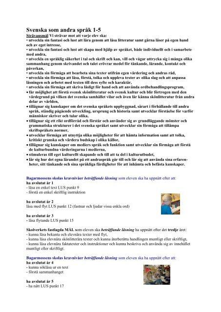 Svenska som andra språk 1-5 - Bagarmossen Brotorps skolor