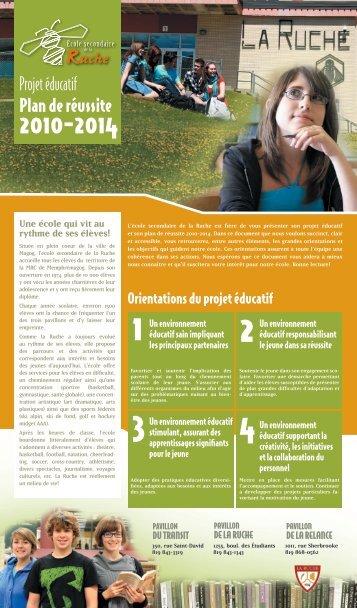 Projet éducatif Plan de réussite - Commission Scolaire des Sommets