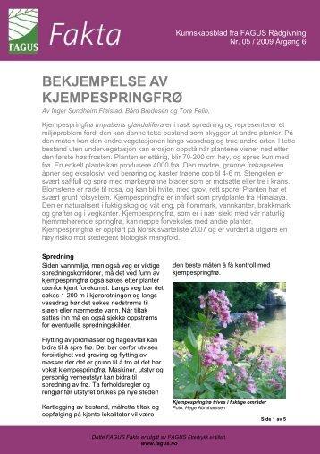 BEKJEMPELSE AV KJEMPESPRINGFRØ - FAGUS