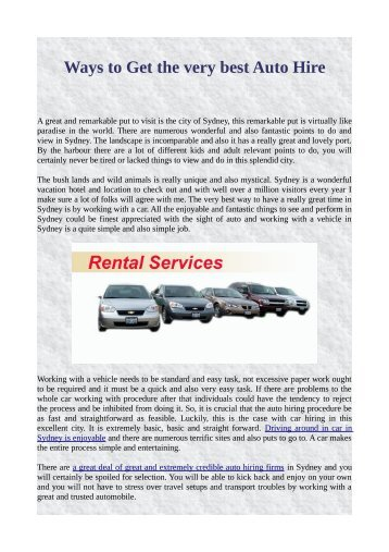 Ways to Get the very best Auto Hire