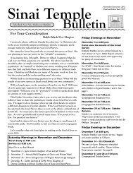 November-December 2012 Bulletin - Sinai Temple