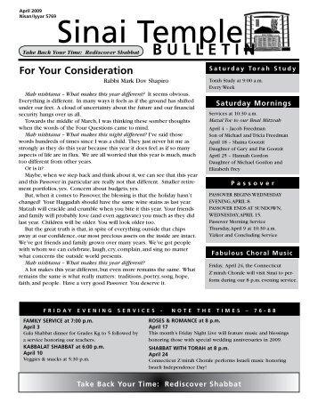 April 2009 Bulletin - Sinai Temple