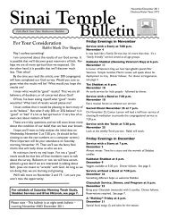 November-December 2011 Bulletin - Sinai Temple