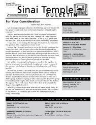 January 2008 Bulletin - Sinai Temple