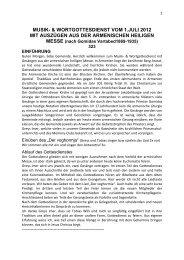 musik- & wortgottesdienst vom 1.juli 2012 mit auszügen aus der ...