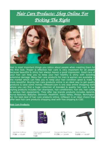 Hair Care Products: Shop Online For Picking The Right