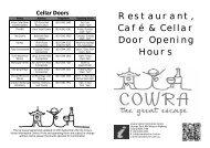 2013 Restaurant & Cellar Door Opening Hours - Cowra Tourism