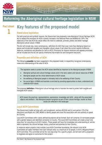 Fact sheet 1: Key features of the proposed model