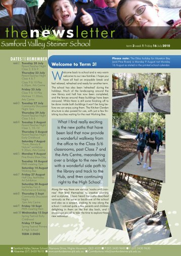 Newsletter Term 3 Week 1 - Samford Valley Steiner School