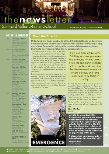 Newsletter Term 4 Week 6 - Samford Valley Steiner School