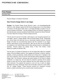 Press Release New Porsche Design Store in Las Vegas - CityCenter
