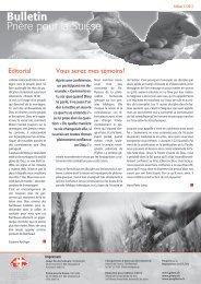 Editorial Vous serez mes témoins! - Gebet für die Schweiz