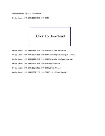 2000 stratus owners manual