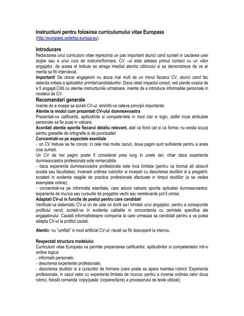 curriculum vitae europass romana instructiuni