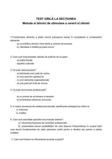 Test grila - Metode si tehnici de stimulare a cererii si ofertei
