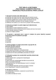 Test grila - Piata muncii. Elemente specifice