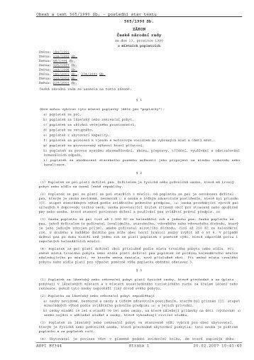 Obsah a text 565/1990 Sb. - poslední stav textu ASPI BY344 Strana ...