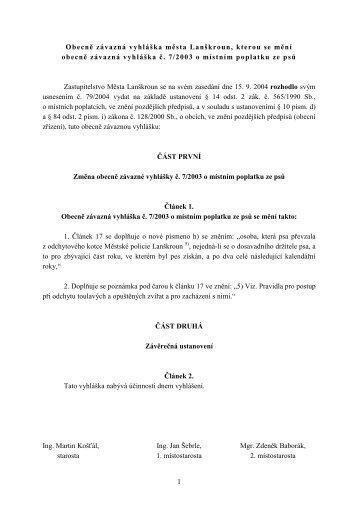 Vyhláška č. 2/2004, kterou se mění vyhl. č. 7/2003 o místním ...