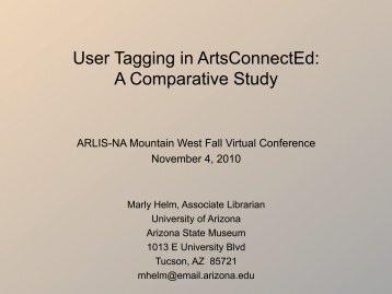 User Tagging in ArtsConnectEd - ARLIS/NA-MW Chapter