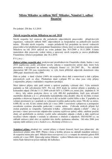 Komentář k rozpočtu na rok 2010 - Mikulov
