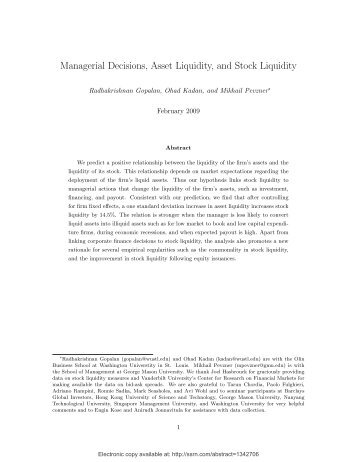 Managerial Decisions, Asset Liquidity, and Stock ... - ResearchGate