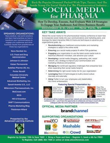 Social Media for Pharma - December 6-8, 2010 - Advanced ...