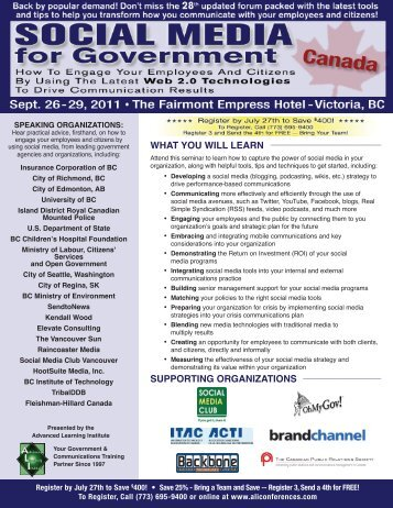 Social Media for Government - September 26-29, 2011 - Advanced ...