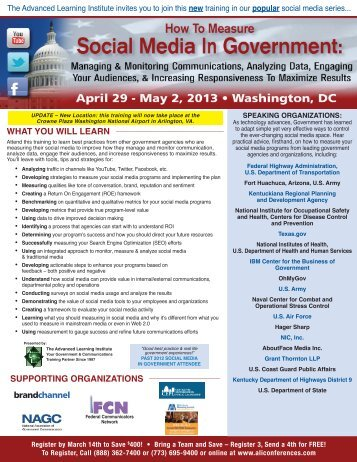 How To Measure Social Media In Government - April 29 - May 2, 2013