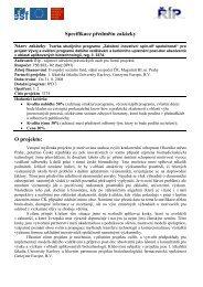 Specifikace předmětu zakázky O projektu: - Evropský sociální fond v ...