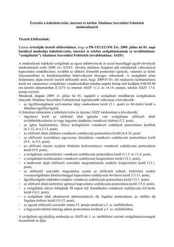 Értesítés a kábeltelevíziós, internet és telefon ... - PR-Telecom
