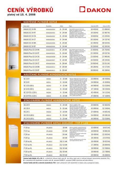Kompletní ceník kotlů Dakon (PDF) - JK Trade HK sro