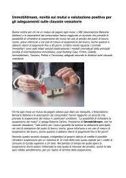 Clausole vessatorie Immobildream: valutazione positiva per gli adeguamenti