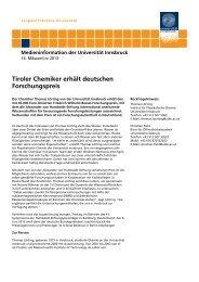 Tiroler Chemiker erhält deutschen Forschungspreis - Chemie.at