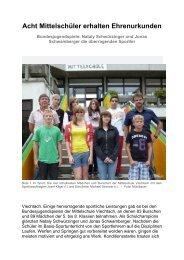 Acht Mittelschüler erhalten Ehrenurkunden - Magix