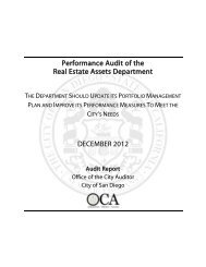 Performance Audit of the Real Estate Assets ... - City of San Diego