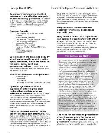 College Health IPA Prescription Opiate Abuse and Addiction