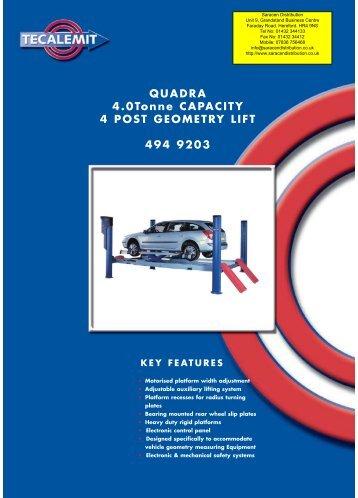QUADRA 4.0Tonne CAPACITY 4 POST GEOMETRY LIFT 494 9203